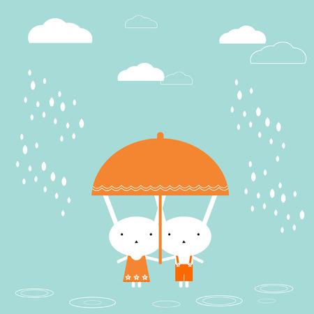 Two bunnies under umbrella Vector Illustration