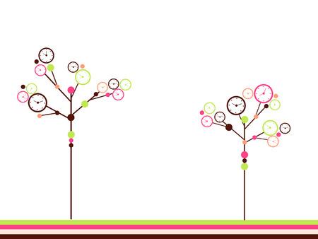 wrap vector: Clock trees Illustration