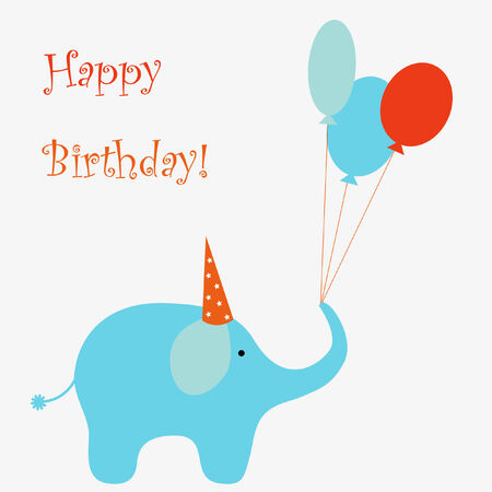 baby elephant: Happy birthday Illustration