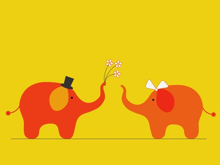 Elephants wedding Vector