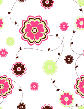 abstract flowers: Seamless flowers pattern Illustration
