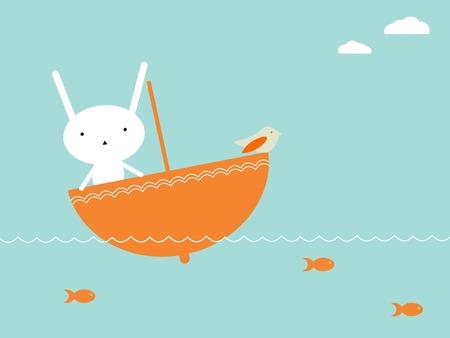 Bunnys travel Vector