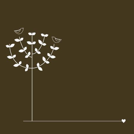 Vogels op de boom Stock Illustratie