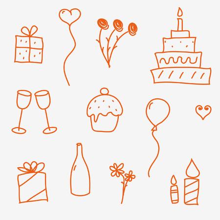 Birthday doodles Vector
