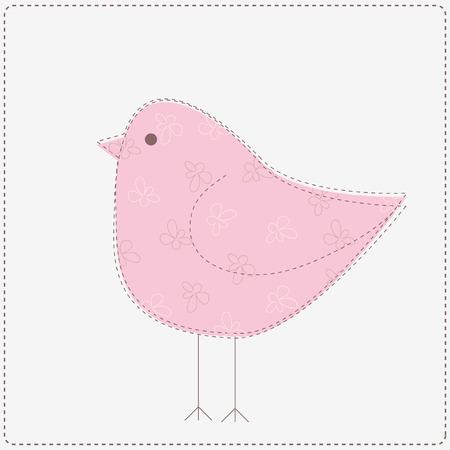 Pink bird with flower pattern