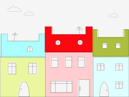 colourful houses: Casitas de colores Vectores