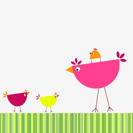 Birds' family Illustration