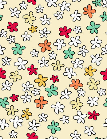 hand drawn flower: Flowers seamless pattern