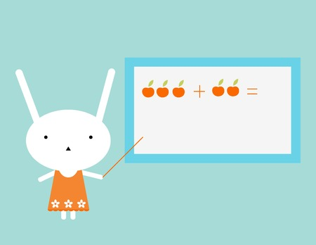 addition: Teacher. Series of Bunny Professions illustrations.