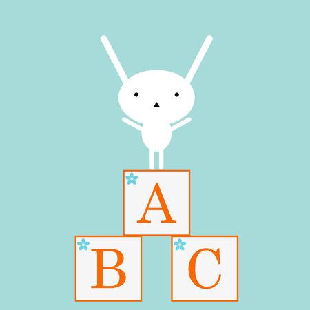 Cute bunny met ABC speelgoed Stock Illustratie