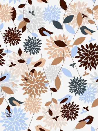 Naadloze: Planten en vogels naadloze patroon Stock Illustratie