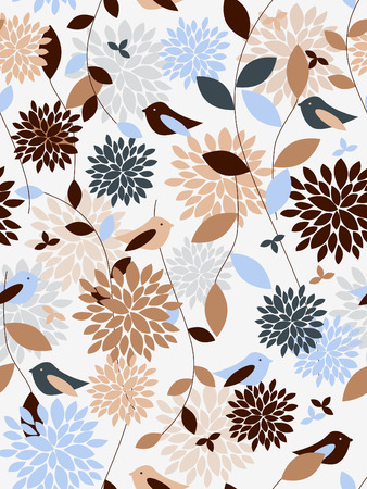 Plants and birds seamless pattern Stock fotó - 5550073