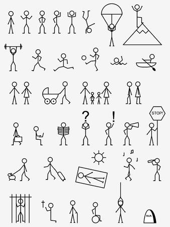 Activiteiten, werk en levens situaties pictogrammen.