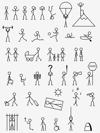 Activities, job and life situations pictograms. Vector