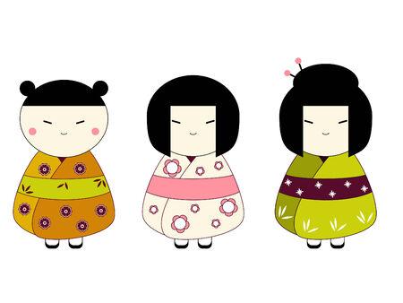 日本の人形  イラスト・ベクター素材