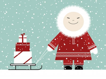 inuit: Christmas Presents Illustration