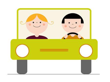 Happy couple driving a car Vector