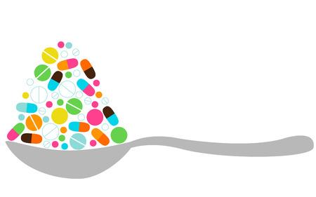 Lepel met pillen Stock Illustratie