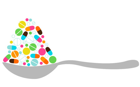 Spoon With Pills Stock Vector - 6247835