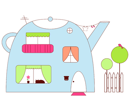 haus garten: Teekanne-Haus Illustration