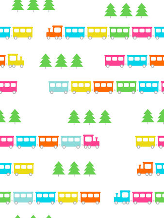 Cute colorful trains, seamless pattern Ilustrace