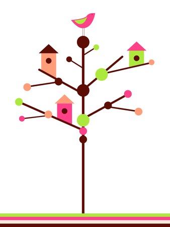 birds in tree: Birdhouses
