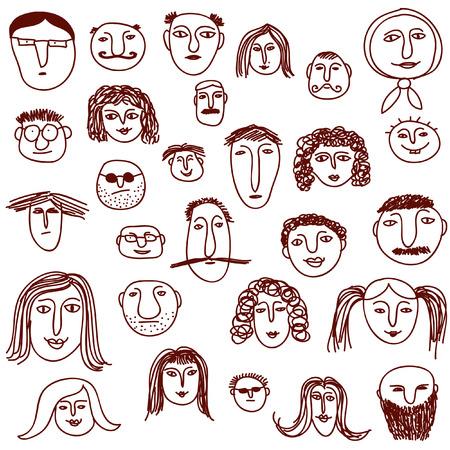 Faces doodles Vector