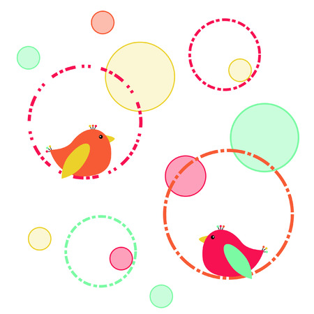 round: Birds and circles Illustration