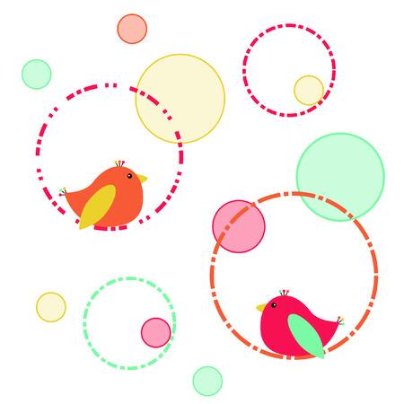 Birds and circles 向量圖像