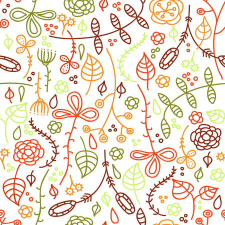 Autumn leaves. Hand drawn seamless pattern. Illustration