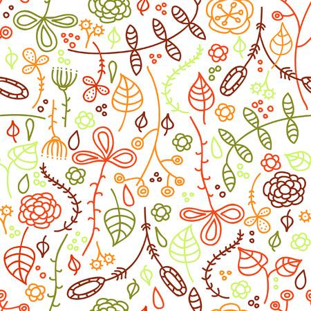 Autumn leaves. Hand drawn seamless pattern. Illustration