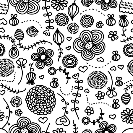 Flowers and bees. Hand drawn seamless pattern. Vector