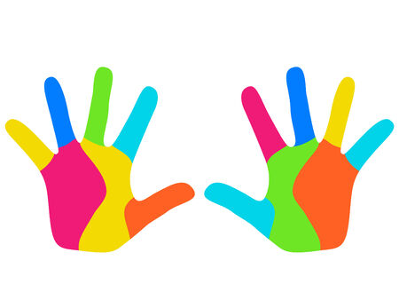paints: Colorful kids hands