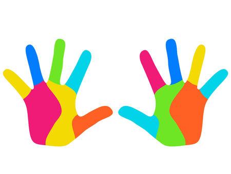 Mains des enfants coloré
