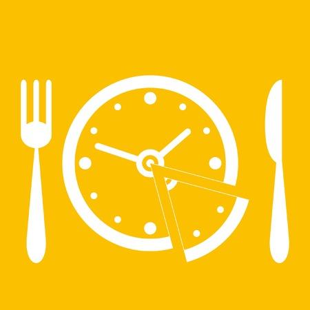 プレート: 昼食の時間  イラスト・ベクター素材