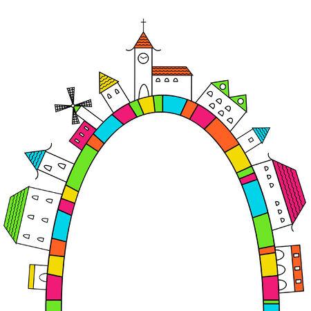 虹の都市  イラスト・ベクター素材