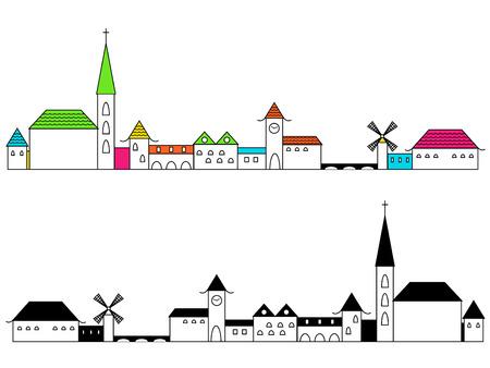 row houses: City Illustration