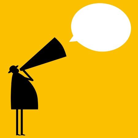 hombre megafono: Anuncio