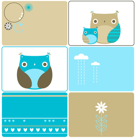 Six owls designs Stock Vector - 6747447