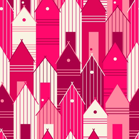 Pink houses. Seamless pattern