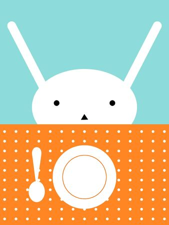 child sitting: Bunnies lunch Illustration