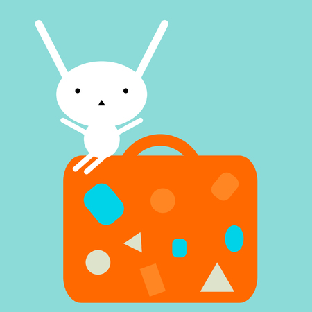 packing suitcase: Bunny travelling