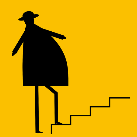 upstairs: Businessman going upstairs Illustration