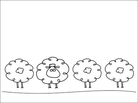 Row of sheep