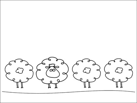 backwards: Row of sheep