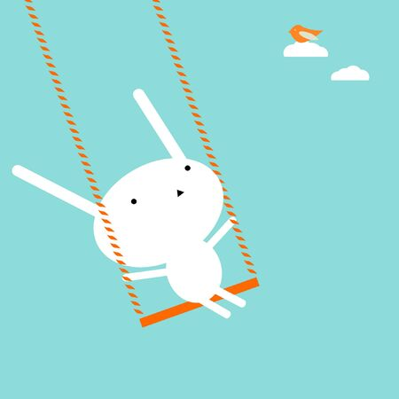 child looking up: Bunny on a swing