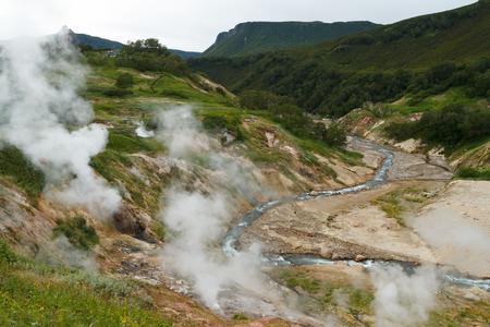 geysers: Valley of Geysers. Kamchatka Stock Photo