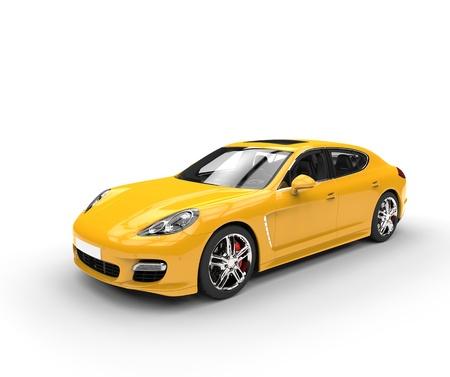노란색 빠른 자동차