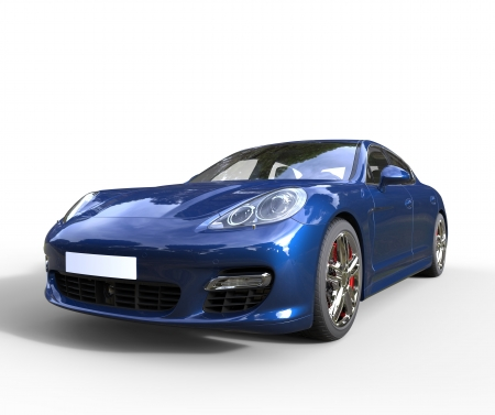 Blue Fast Car Front Closeup