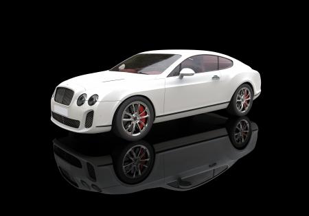 calipers: White Luxury Car In Black Showroom